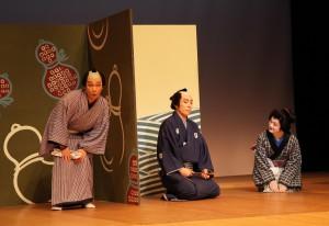 新作歌舞伎『浮世咄一夜仇討』左から片岡千次郎、片岡松十郎、片岡千壽